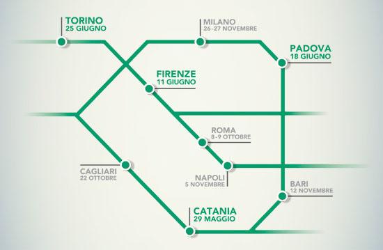 A Torino, Milano, Padova, Firenze, Roma, Cagliari, Napoli, Bari, Catania