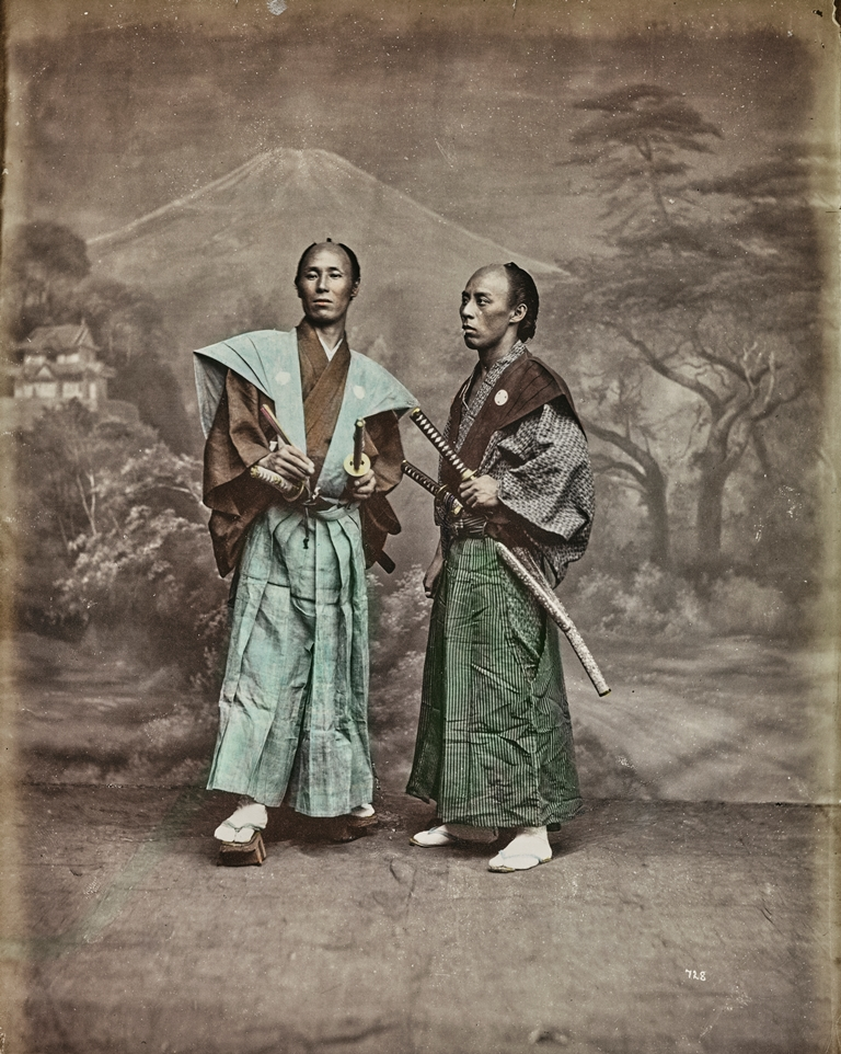 Japanese men dressed in samurai and swords 1877 - 1885